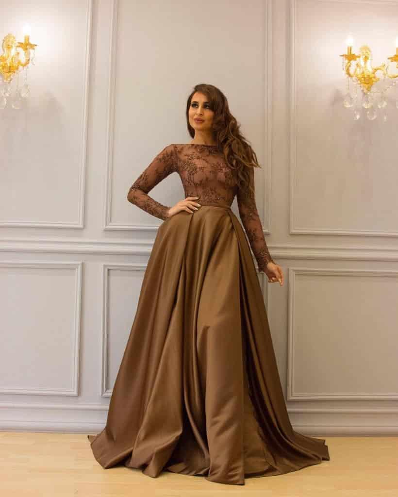 أجمل فستان تركي باللون البني حلوة