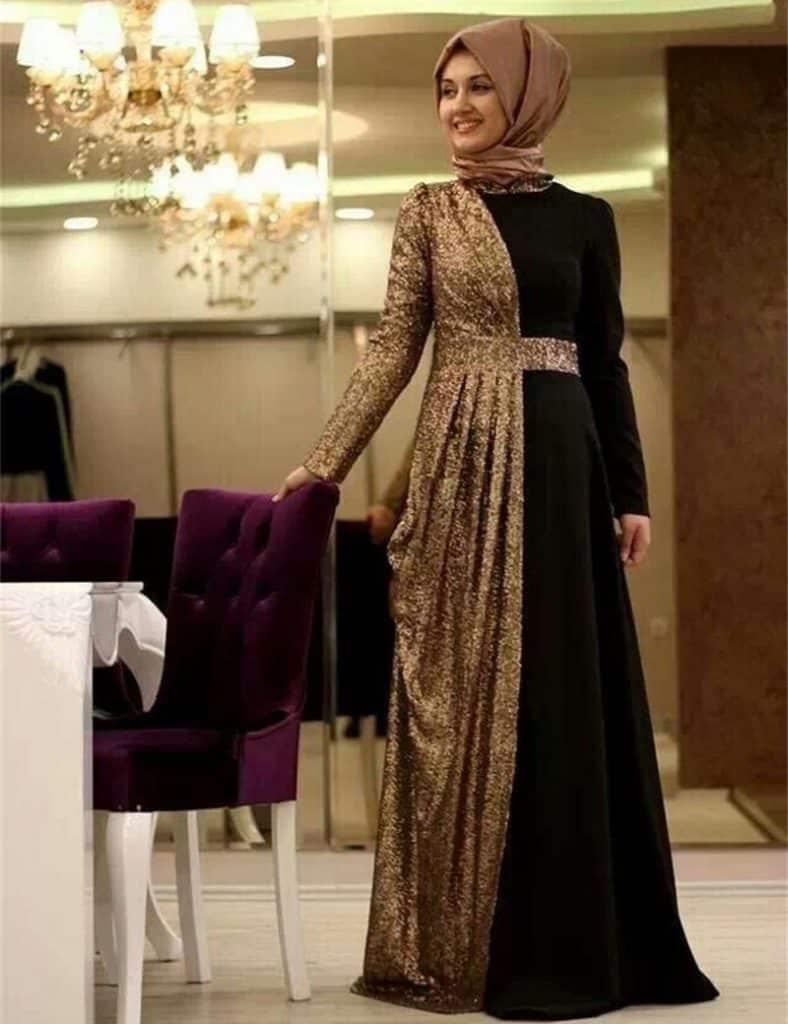 أجمل فستان تركي باللون البني جميلة جدا