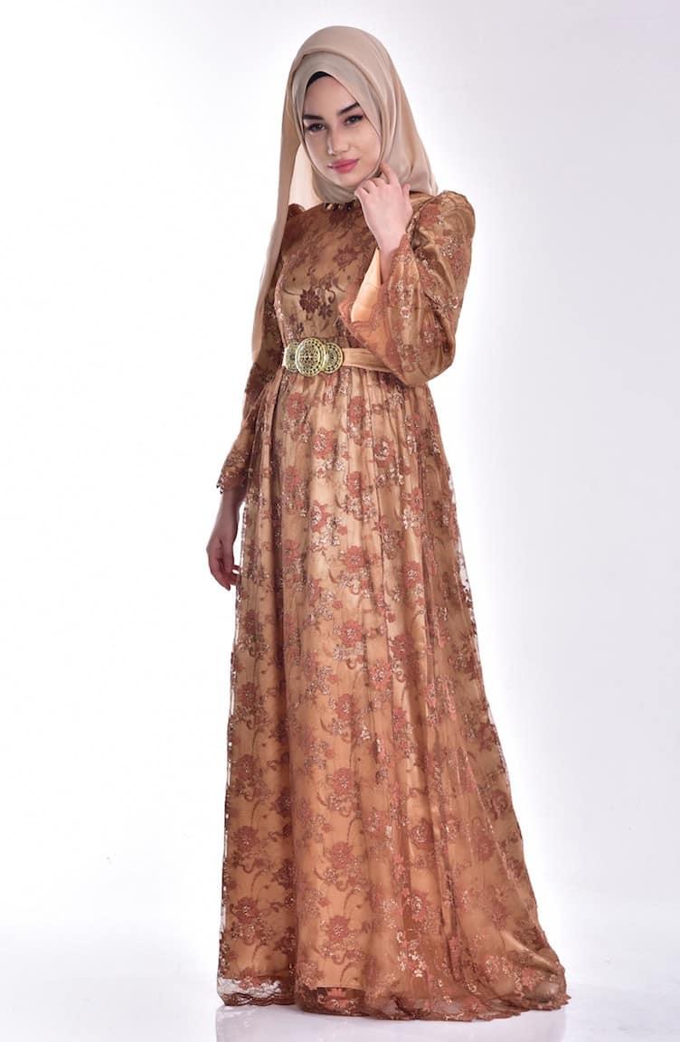 أجمل فستان تركي باللون البني رائعة